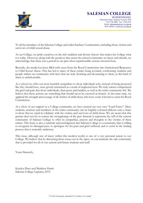 Loud Fence Student Letter 2015